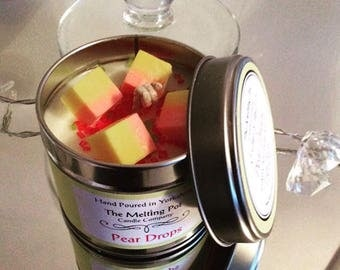 Pear drops fragrance organic soy candle tin, hand poured - hand decorated