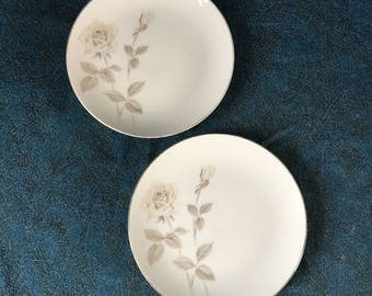 Vintage Noritake Melrose Bead and Butter Plates, Set of 2, Platinum Coupe