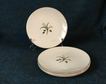 Vintage Knowles China Forsythia Bread and Butter Plates, Set of 4