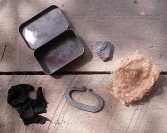 Large size hand forged flint and steel fire kit.