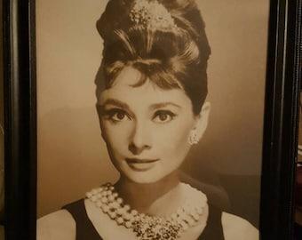 "Vintage Black and White Audry Hepburn Portrait 12"" x15""! Beautiful!"