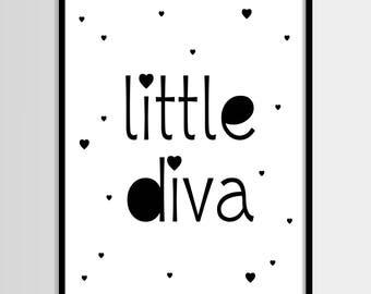 Little diva, Scandinavian print, Baby girl, Nursery decor, Girls room, Digital art, Printable art, Digital poster Instant Download 8x10