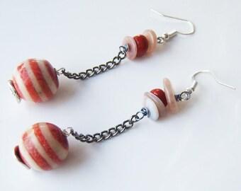Dangle earrings striped glass bead
