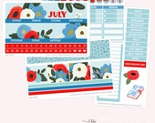 JULY Monthly View Planner Sticker Set   Fits ECLP or Classic Happy Planner