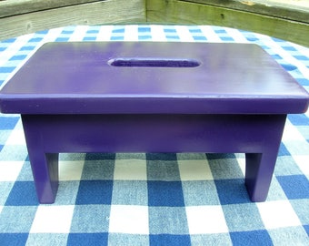 Wooden Stool Stepstool Bench - Purple - Bathroom, Children's Room, Kitchen