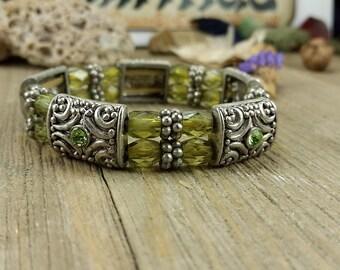 Green and silver Vintage Bracelet