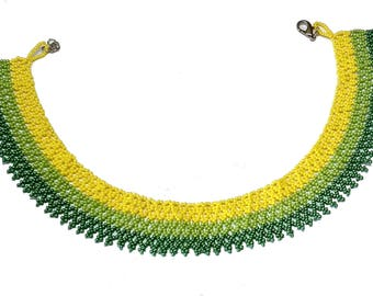 Seed Bead Necklace, Green necklace, Small Beads Necklace, Green Yellow Necklace, Seed Bead Jewelry, Seed Bead Choker, Netted Necklace