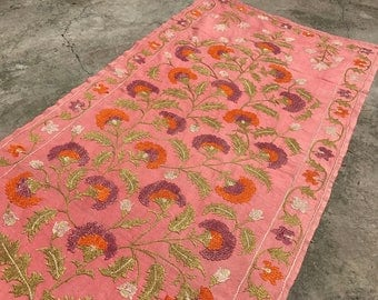 PINK Table Runner, Silk Long Suzani, Flower Patterns, Vintage Suzani, Handmade Suzani Bedspread, Vintage Wall Decor, FLORAL Suzani Fabric