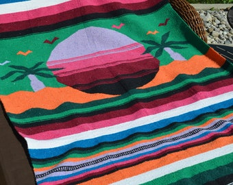 Vintage Mexican blanket, throw ,fringe, sunset, throw, cottage, beach house, festival blanket, cottage, boho decor, serape