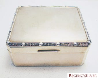 Solid Sterling Silver Birmingham hallmarked Cigarette/Trinket Box Case, in Celtic/Lindisfarne dragons & knots design. Vintage/Antique.