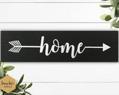"home wood arrow sign, 12""x3.5"", wall decor, home decor, lightly distressed black wood, shelf sitter, wall hanging sign, small wood sign"