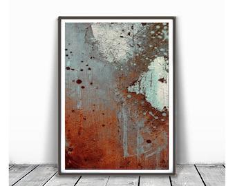 Printable Art, Vintage Finish, Art Poster, Digital Download, Wall Decor, modern abstract, orange, gray, light blue, brown, industrial art