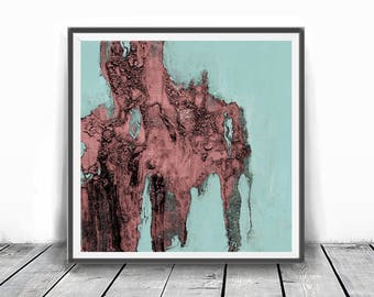 Digitat  abstract, contemporary art, scandinavian , mint, PRINTABLE , Abstract art , blush pink and mint , wall decor, pink and teal,coral