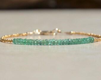 May Birthstone Bracelet, Emerald Bracelet, Natural Gemstone Bracelet, Sterling Silver Bracelet, Emerald Birthstone, Beaded Bracelet, Gift