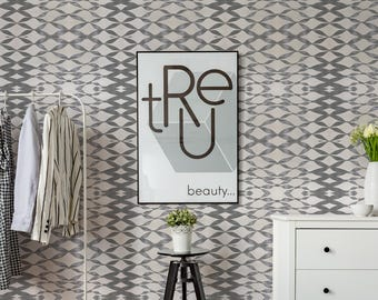 Ribbon Like Removable Wallpaper, Grey and Soft Cream Self Adhesive or Traditional Wallpaper, Home Decor