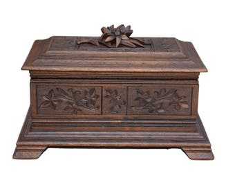 French Antique Black Forest Hand Carved Walnut Wood Jewelry Box - Cabin Decor Lidded Box - Edelweiss Carving