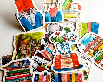Bookworm's Paradise Flake Stickers (19 pcs) // N5 // Die Cut Stickers // Planners //  Laptop Stickers  // Scrapbooking Essentials