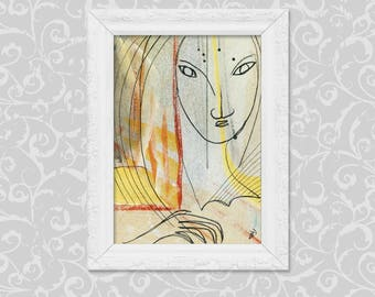 Image DIN A6 abstract-figurative art painting drawing