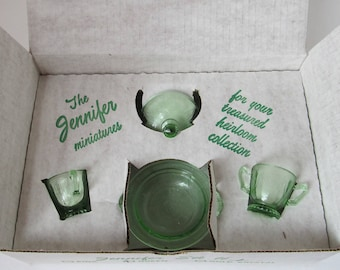 MOSSER GLASS Jennifer Set #1 - Green - MIB