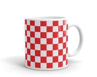 Red Checkerboard Pattern Coffee Mug