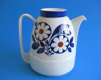 Vintage Schirnding  Teapot / Coffeepot 1970s Floral Design   Blue Red Bavaria Germany