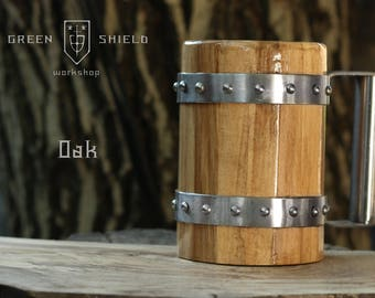 Wooden Beer Mug/ Tankard - Oak wood! Permanent Food safe Coating
