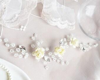 LITTLE FLOWER   Ivory bridal hair vine wedding hair accessory bridal headpiece wedding headpiece