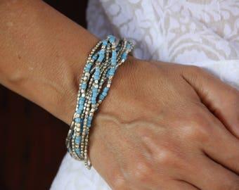 Statement Bracelet Blue - Multi Strand Bracelet - Boho Bracelet Blue - Boho Wrap Silver Bracelet - Silver Gypsy Bracelet - Everyday Bracelet