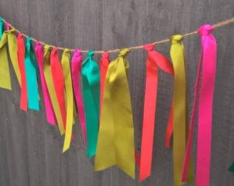 Pink, Green, Orange,  Colourful Ribbon Wedding Party Bunting by Joyce Molly Designs
