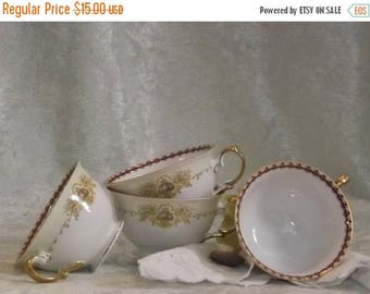 SALE Mismatched Teacups, 3 Teacups, Floral with Gold Trimmed Teacups, Dover, Wedding Teacups, Bridal Showers, Tea Parties, Shabby Chic Teacu