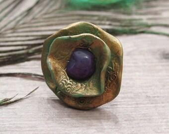 Clearance 50% Off Agate Ring,Bronze Ring,Boho Ring, Statement Ring,Adjustable Ring,Bohemian Ring,Flower Ring,Crystal Ring,Gemstone ring