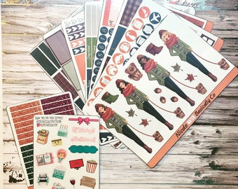 Crisp Autumn Air- Fall Kit- 8 Full Pages, & 1 Glitter Header Half Page For use with Erin Condren Vertical Planner