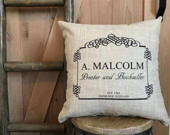 Outlander inspired pillow cover, A. Malcolm, Edinburgh, Scotland, Jamie Fraser geek pillow 16 x 16, Great gift!