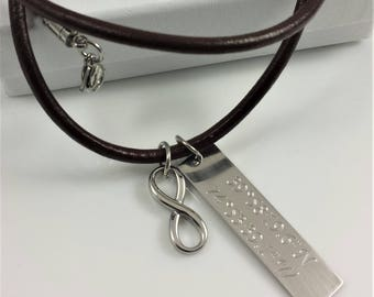 FREE SHIPPING-Infinity Personalized Necklace, Stainless Steel Leather Necklace, Coordinates Necklace For Men, Custom Plate Necklace For Dad