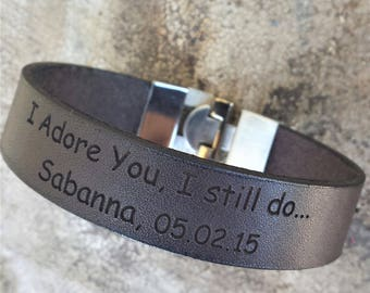 FREE SHIPPING-Men's Bracelet, Leather Bracelet, Men Message Leather Bracelet, Men Personalized Bracelet, Custom Leather Cuff, BraceDesigns