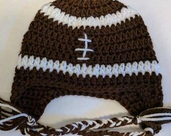 Crochet Football Hat/Baby Football Hat/Crochet Earflap Hat/Winter Hat