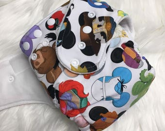 Disney Mickey Mouse Ears Head Characters Lightning Ariel Tinkerbell Up Toy Story serged hybrid fitted cloth diaper  one size OS zorb soaker