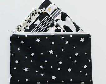 Lot de 8 lingettes demaquillantes lavables et leur trousse coordonnée Noir et Blanc étoiles