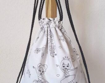 Sac à dos pour enfants blanc et noir danseuses (à colorier)