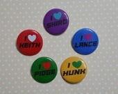 "I heart ""Paladin"" inspired 1.5"" buttons Shiro Lance Kieth Pidge Hunk Alura Coran Lotor"