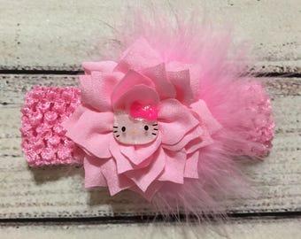 Hello Kitty Baby Headband Baby Girl Headband Flowers Headband Toddlers Headband Hello Kitty Headband Hello Kitty Hair Bow