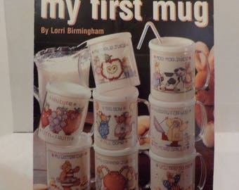 My First Mug-Children-Babies-Vintage Counted Cross Stitch Patterns 8 Patterns by Leisure Arts
