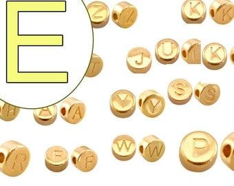 alphabet bead E 7mm gold plated #3847