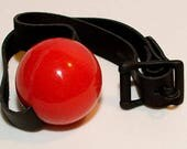 """Silicone Ball Gag, Extra-Large (2.25""""), medical grade with black or white leather strap"""
