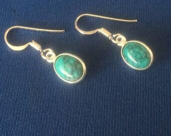Turquoise drop earrings sterling silver