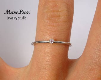 Synthetic Rose Tourmaline Stackable Silver Ring, October Birthstone Ring 1.5 mm Round Cut Rose Tourmaline Ring Thin Stacking Tourmaline Ring