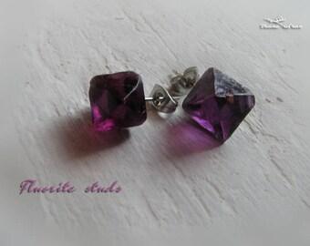 Purple fluorite earrings -natural fluorite octahedron studs, octahedron fluorite earrings, 316 stainless steel, healing crystals and stones