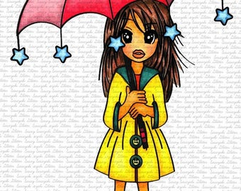 Image #101 - Under The Rain Digital Stamp Sasayaki Glitter Digital Stamps - By Naz Smith - Black and White- Line art Only