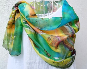 """Gorse"" hand painted silk shawl"