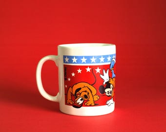 Walt Disney Mickey Mouse Minnie Pluto Mug - Vintage Staffordshire Coffee Cup Donald Duck Stars - Made in England